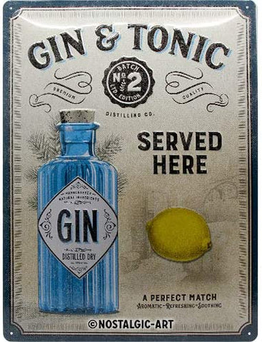 Gin & Tonic Metal Sign By Nostalgic Art