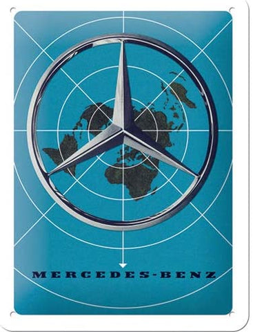 Mercedes-Benz Blue Map Metal Sign By Nostalgic Art