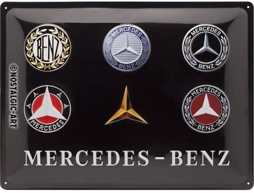 Mercedes-Benz Logo Evolution Retro Metal Sign By Nostalgic Art