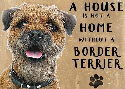 border terrier metal sign and art by backstage originals. cats and dogs