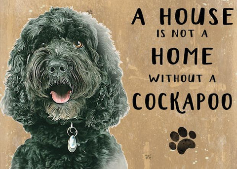 Black cockapoo metal and art sign by backstage originals. cats and dogs