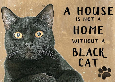 Black Moggies Cat Metal Sign