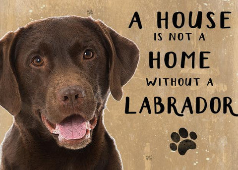 A House is not a Home without a Chocolate Labrador Metal Sign