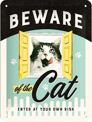 Animal Club Beware of the Cat Metal Plate Sign By Nostalgic Art