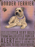 border terrier metal sign, art by backstage originals