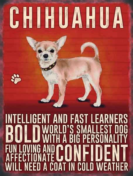 chihuahua metal sign
