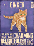 cat ginger metal art sign. very high quality by backstage originals. cats and dogs