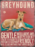 Greyhound Cream Color Metal Sign