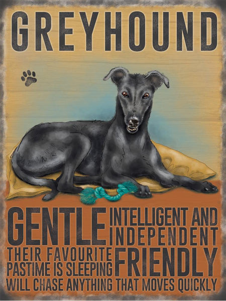greyhound metal sign and art by backstage originals. cats and dogs