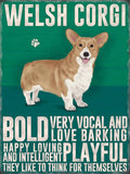 welsh corgi metal sign, dogs and cats