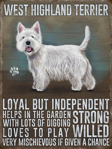 west Highland terrier metal art sign by backstage originals. westie dog. cats and dogs