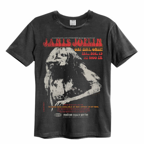 Janis Joplin Amplified Charcoal T-shirt