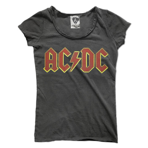 ec21567eb3d AC DC Logo Amplified Charcoal Women s T-shirt