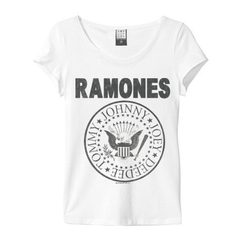 Ramones Logo Amplified White Women's T-shirt