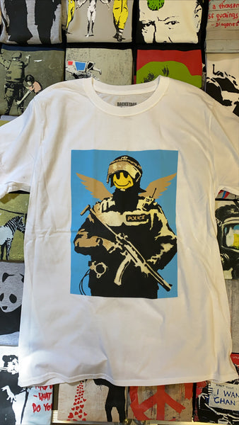 Banksy Smiley Cop White Men's T-shirt