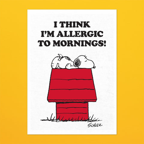 SNOOPY & ALLERGIC TO MORNINGS TEA TOWEL