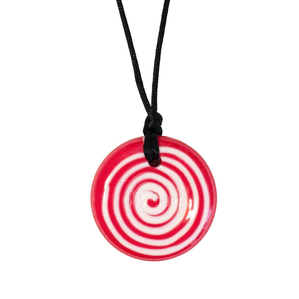 RED & WHITE SWIRL CHEWIGEM BUTTON PENDANT - The Jam - Pheebsters Sensory Toys - Autism Toys, Special Needs Chews & Fidget Toys - ASD ADHD TOYS UK
