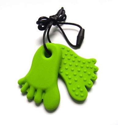 GREEN FEET CHEW PENDANT - Double foot necklace - Pheebsters Sensory Toys - Autism Toys, Special Needs Chews & Fidget Toys - ASD ADHD TOYS UK