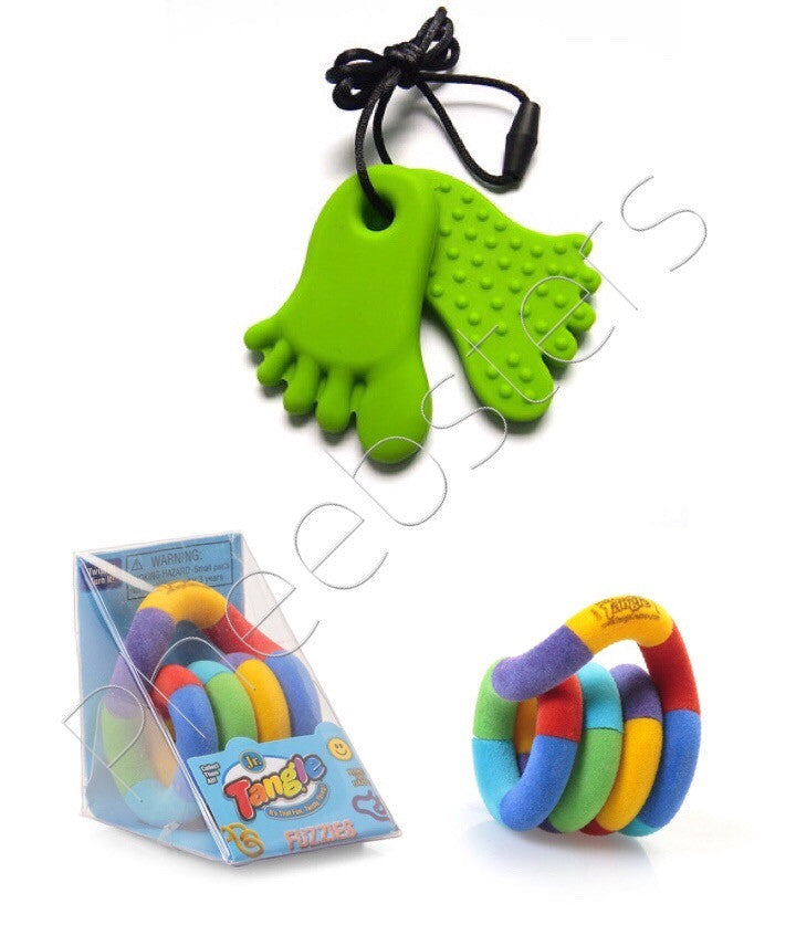 TANGLE TOY JUNIOR FUZZY & CHEW PENDANT FIDGET KIT (Feet) - Pheebsters Sensory Toys - Autism Toys, Special Needs Chews & Fidget Toys - ASD ADHD TOYS UK