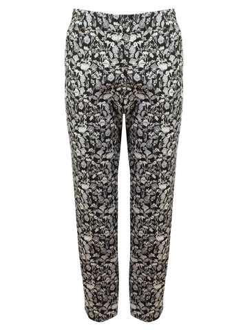 Floral Black White Ankle Grazer Trouser