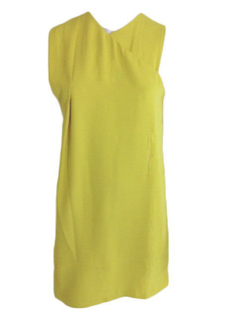 Yellow Mock Wrap Shift Dress With Exposed Zip Detail