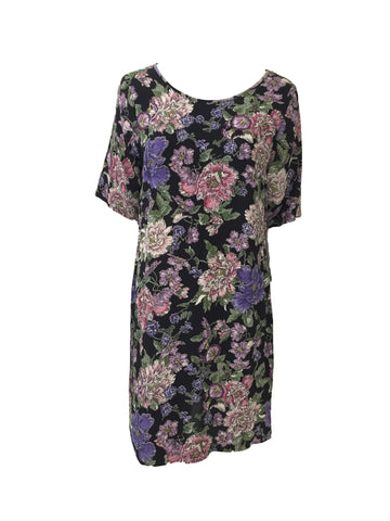 ex New Look Black Purple Floral Print Dress