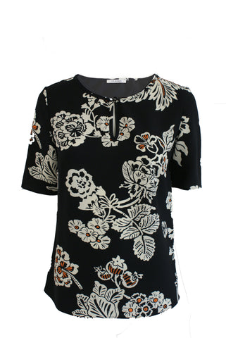 ex M&S Graphic Print Top With Keyhole Detail
