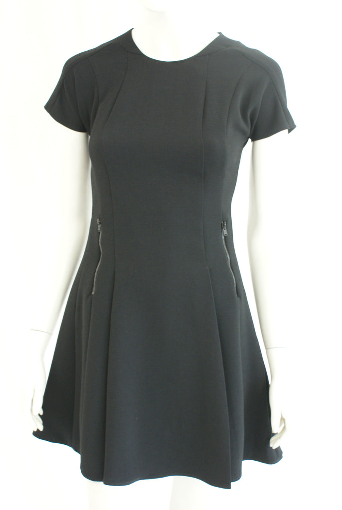 Flared Black Dress With Zip Detail