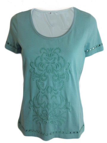 Green Embellished T-shirt With Cut Out Detail