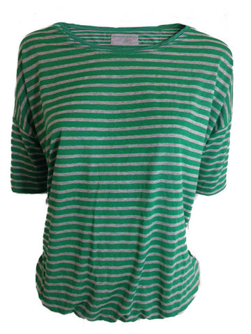 ex Dunnes Green & Grey Striped T-Shirt