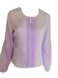 ex Eastex Lilac Pleat Front Long Sleeve Crepe Blouse