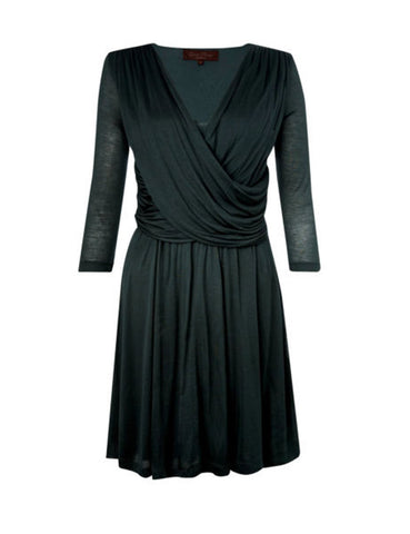 ex French Connection Black Jersey Drape Front Dress