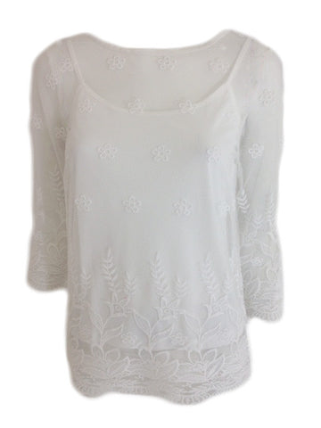 White Embroidered Mesh Top With Co-ordinating Camisole