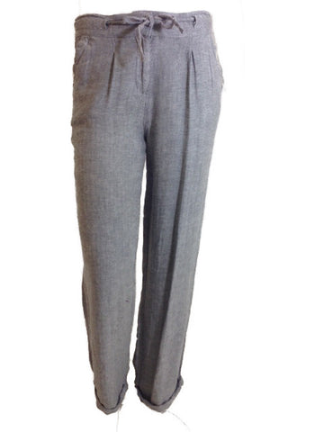 Linen Blend Trouser With Drawstring Detail