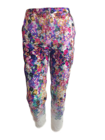 Tapered Leg Floral Trousers
