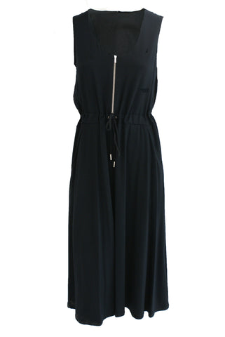 ex M&S Black Dress With Drawstring Waist And Zip Front