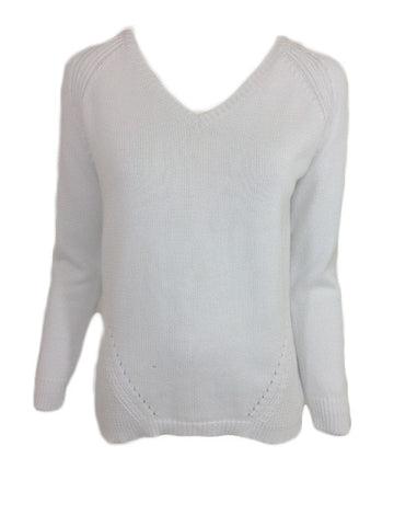 ex White Cotton V Neck Jumper