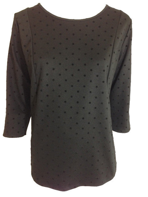 Velour Black Spot Top With Exposed Zip