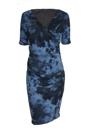 ex M&S Blue Digital Spot Shift Dress