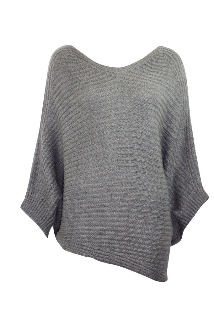 ex Accessorize Ladies Grey Asymmetrical Sleeved Soft Poncho