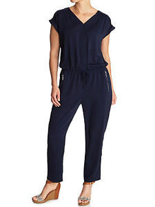 Navy Blue Jumpsuit With Zip Detail