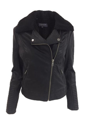 Faux Leather Jacket with Faux sheepskin collar