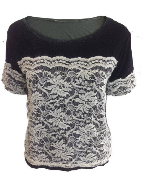 ex Miss Selfridge Lace Overlay Black Short Sleeved Top
