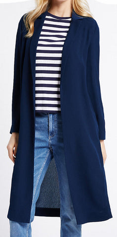 ex Marks and Spencer Navy Duster Coat