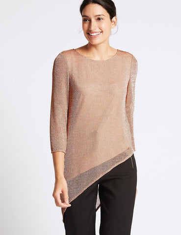 ex M&S Rose Gold Asymmetric Top