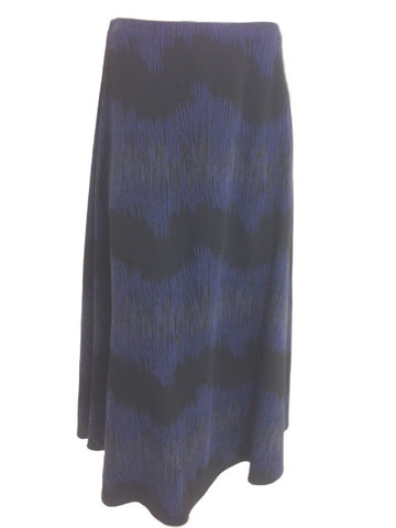 Purple And Black Print Flared Midi Skirt