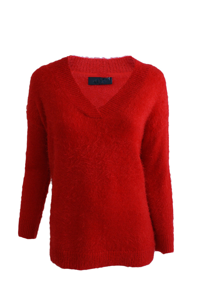 ex Wallis V Neck Fluffy Jumper