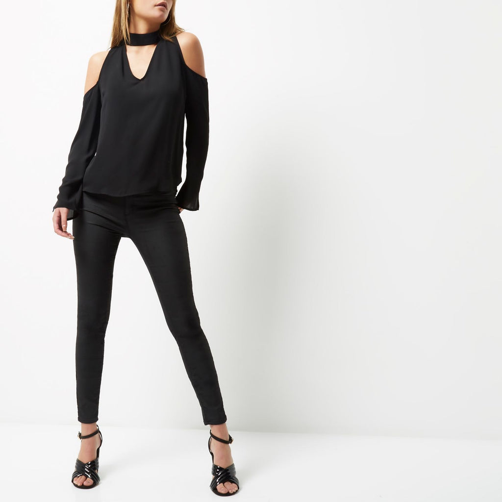 ex River Island black cold shoulder top