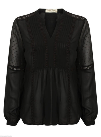 ex Marks and Spencer pintuck dobby black blouse