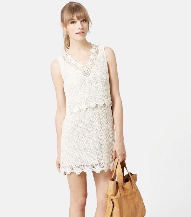 ex Topshop cream crochet dress